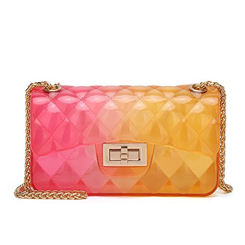Women Transparent Jelly Messenger Bag Lady Gradient Candy Color Shoulder Purses Mini Crossbody Bag with Chain (Red Yellow)]()