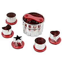 Astra shop 6-Piece Classic Linzer Cookie Cutter Set, Red