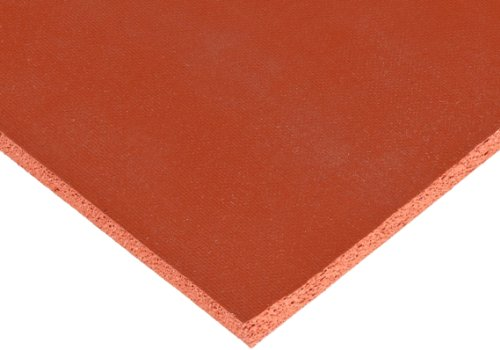 CS Hyde Silicone Sponge Rubber, Closed Cell, Commercial Grade, Medium Density, 0.25'' Thick, Red, 12'' Width, 12'' Length by CS Hyde