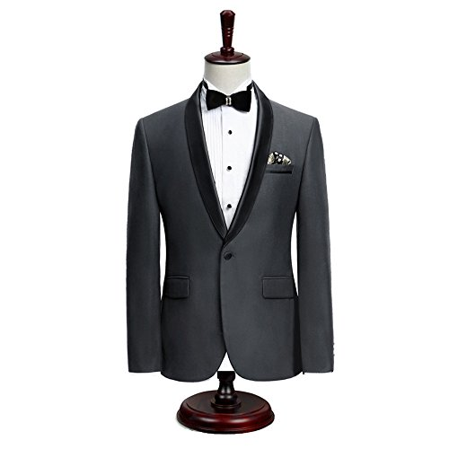 Premium Formal Shawl Lapel Slim Fit Tuxedo Prom Wedding Groom Suits Blazers Jacket Coat,Charcoal - Lapel Tuxedo Coat