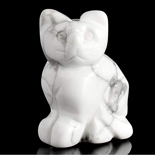 DAVITU 1.5 inch Crystal Cat Animal Statue Carved Cute Cat Figurine Gemstone Figurines for Home Decor Chakra Healing Fun Toys as Gifts - (Color: White howlite)