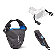 Miggo Agua IPX3 Quick-draw Storm-Proof Holster 25 for Compact System Camera - Black/Blue