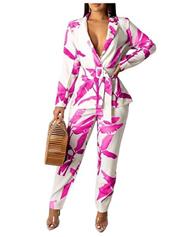 アノイドキュメンタリー彫刻cheelot Women's Slim Casual Print Flare Jacket and Long Pants 2 Piece Set