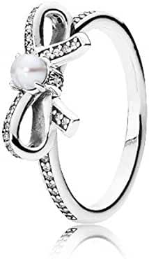 Pandora 190971P-56 Delicate Sentiments, Ring White Pearl & Clear CZ, size 7,5