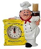 Smiling Chef Figurine Kitchen Decor Shelf Clock