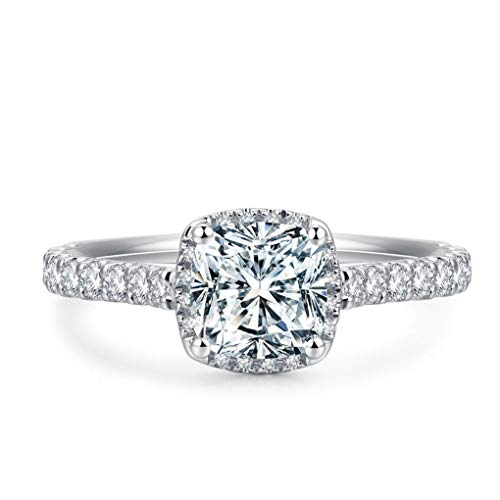 2ct Cushion Cut Petite Micro Pave Floating Halo Simulated Diamond CZ Engagement Ring (9) (2 Carat Cushion Cut Pave Engagement Ring)