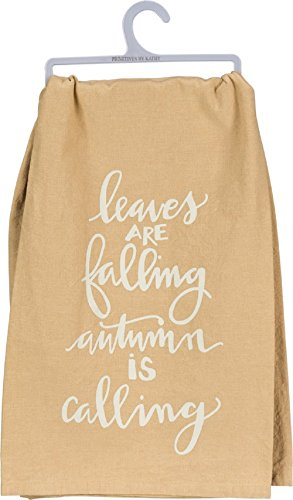 Primitives by Kathy Leaves Are Falling Autumn Is Calling Cotton Dish Towel Kitchen Linens