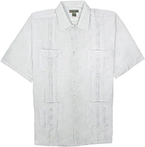 Foxfire Short Sleeve Embroidered Guayabera Shirt, White, ()