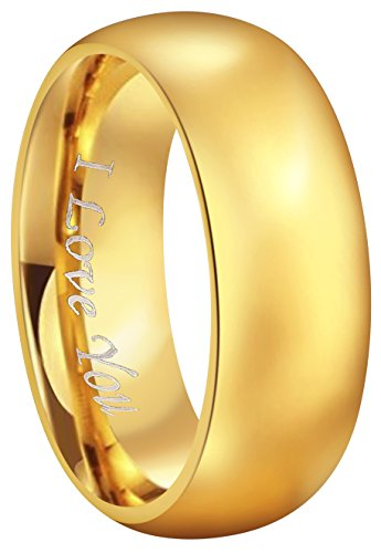 - CROWNAL 4mm 6mm 8mm Tungsten Wedding Couple Bands Rings Men Women 24K Gold Plated Plain Dome Polished Engraved I Love You Size 4 to 17 (8mm,10)