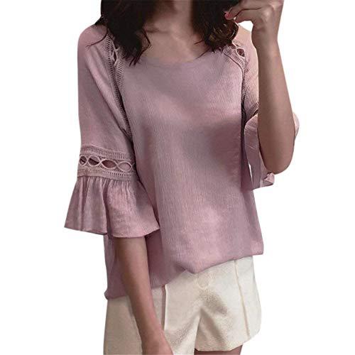 HX fashion Donna Blusa Estivi Elegante Chiffon Camicetta Puro Colore Sciolto Allentato Chic Scavare Tops Maniche Tromba Shirts Corto Rotondo Collo Magliette Ragazza Rosa