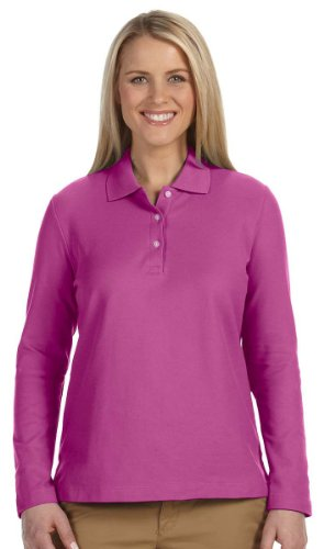 Sleeve Pima Pique Polo - Devon & Jones Women's Pima Pique Long Sleeve Polo Shirt D110W purple Small