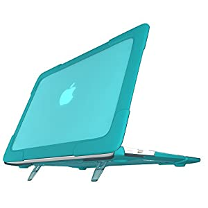 SPESSN [Heavy duty Series] Matte Touch Hard Shell Protective Cover Case with Stand for Macbook Air 13 Inch -Model: A1466 / A1369 (Turquoise)