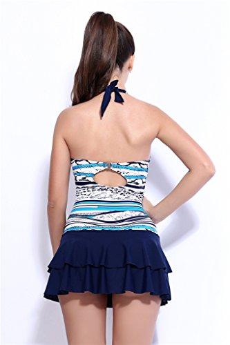 Fortuning's JDS Marina rayas traje de baño natación plisada cuello Atado al cuello estilo de la falda azul