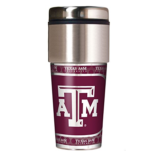 Texas A&m Aggies Tumbler (NCAA Texas A&M Aggies Travel Tumbler with Metallic Wrap, 16 oz,)