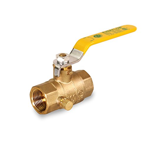 Everflow Supplies 405T034-NL BrassFull Port Ball Valve With Drain 3/4 Inch IPS Threaded - Lead Free (Drain Valve Replace)