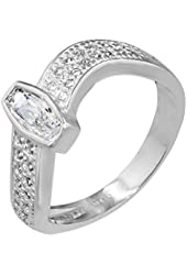 Sterling Silver Wave Ring with Pave Cubic Zirconia
