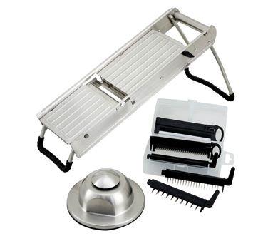 Winco MDL-15 Mandoline Slicer Set W/ Stainless Steel Hand Guard-MDL-15
