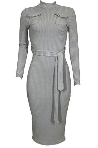 La Mujer Vestido Invierno De Alto Larga Grey Bodycon Crucería Cuello Manga Con rrRaBxq4