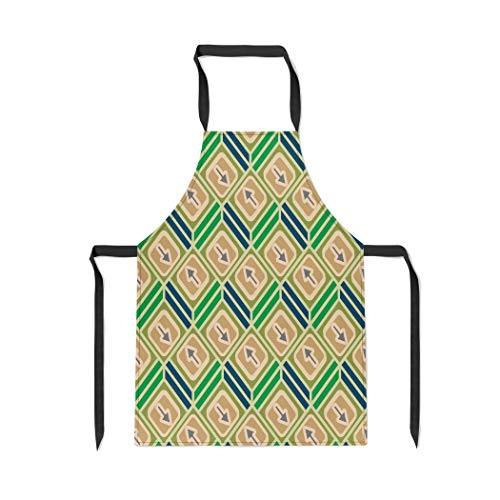 Pinbeam Apron Accent Abstract Pattern Arrows on Button Bottom Cellphone with Adjustable Neck for Cooking Baking Garden