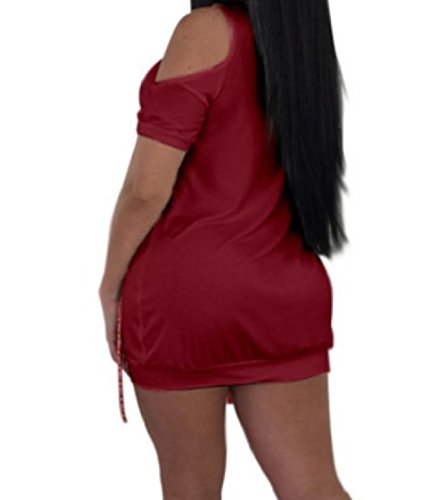 Short Baggy T Shoulder Shirt Cut Women Sleeves Dress Patterned Red Wine Out Coolred q5WwW