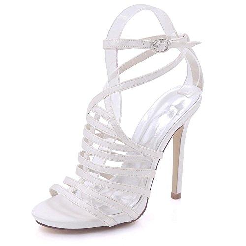 yc De Honor Dama Abierta L Tacón Mujer Tamaño Hebilla Corte Verano Zapatos Alto 8 3 Fiesta Sandalias Gran Blanco wAAdCEq