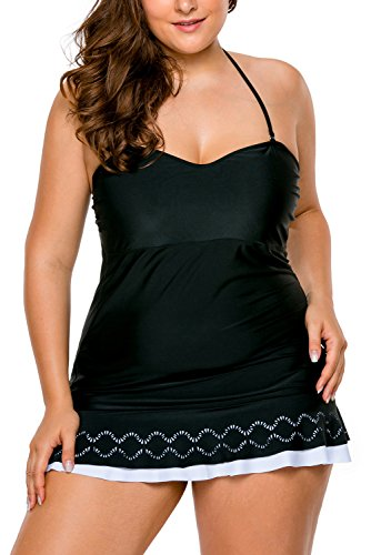b4518d50516 Lalagen Women's Plus Size Halter Skirtini Swimdress Cover Up Swimsuit  Tankini size XXXL (Black)
