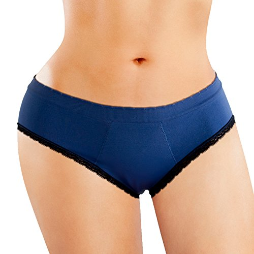 Anigan StainFree Seamless Hipster Lace Trim Menstrual Period Panty - Blue (X-Small)