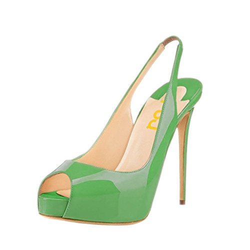 FSJ Women Colorful Dress Sandals Slingback Peep Toe High Heels Pumps with Platform Size 8 Green