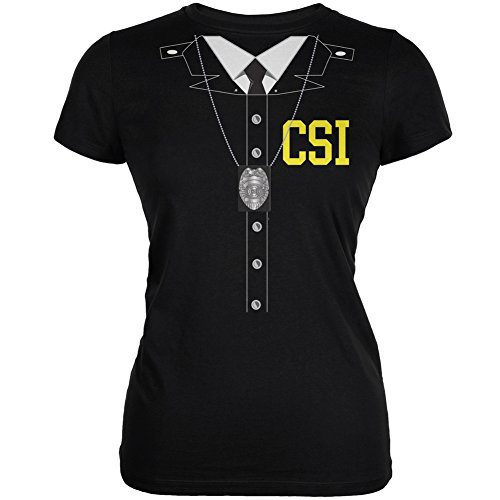 Halloween Crime Scene Investigator Costume Black Juniors Soft T-Shirt - X-Large ()