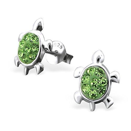 925 Sterling Silver Peridot Green Crystal Sea Turtle Stud Earrings 16296 (Nickel Free)