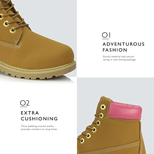 Padded Combat Collar Pink Work Women's Ankle Booties up Tan DailyShoes Lace Pu Ladies RxwSHqOZ