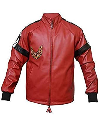 Men's Smokey & The Bandit Burt Reynolds Trans Am Bomber Red Leather Jacket (2XL, Red- Real Leather)