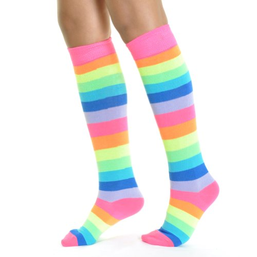 Angelina NEON Rainbow Striped Knee High Socks, -