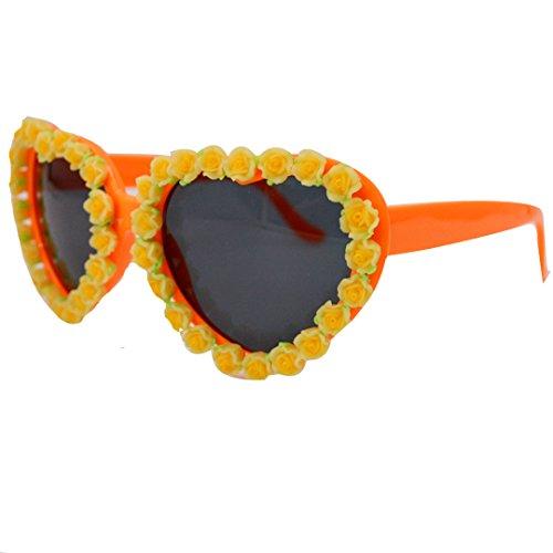 Kennedy New Fashion Cute Heart-shaped Resin Anti-ultraviolet Sunglasses, Beach Resort Sunglasses, Flower - Kennedy Sunglasses