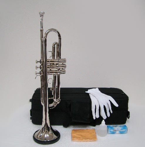 Merano B Flat Silver Trumpet with Case+Mouth Piece+Valve Oil+Metro Tuner+Black Music Stand by Merano