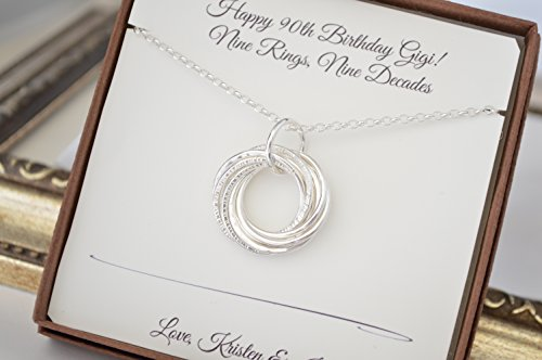 9th Anniversary Gift For Her 90th Mother And Grandmother Necklace Birthday Moms Grandmothers Jewelry Sister