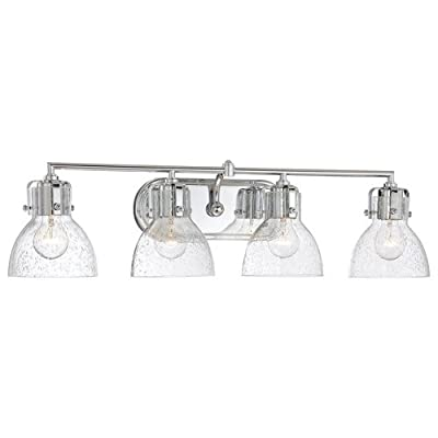 "Minka Lavery 5724 4 Light 31.5"" Width Bathroom Vanity Light with Clear Seeded Sh,"