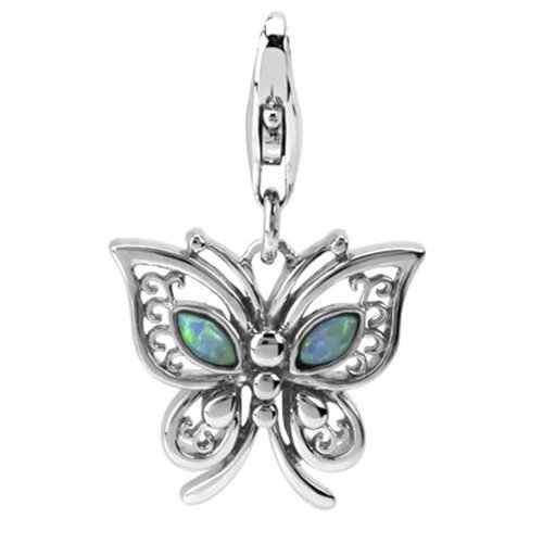 Rhodium Plated Sterling Silver Butterfly and Lab Opal Charm with Lobster Clasp, Width 3/4 Inch, Length 1 1/4 Inch , It Is a Nice Pendant
