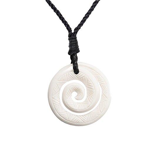 (81stgeneration Women's Men's Hand Carved Bone Maori Engraved Koru Spiral Swirl Pendant Necklace)