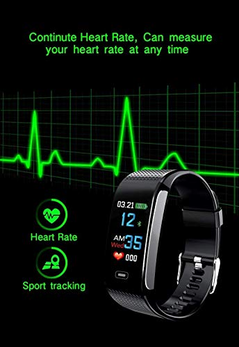 Smart Wristbands Watch Fitness Tracker Blood Pressure Heart Rate Monitor IP67 Waterproof Fitness Tracker Pedometer Sport Bracelet (Black) … by Verna (Image #3)