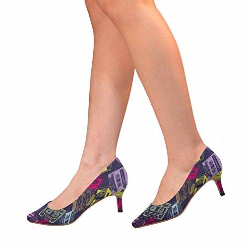 Interestprint Mujeres Bajo Gatito Talón Punta Estrecha Zapatos De La Bomba Colorido Retro Casetes Tema De La Música Multi 1