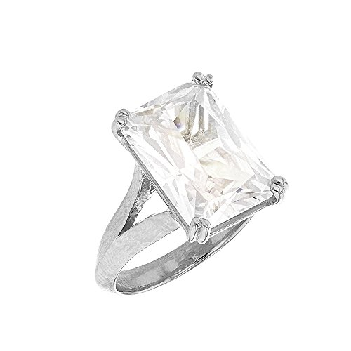 Octagon Cut Ring (Fine Sterling Silver Octagon Radiant Emerald Cut CZ Solitaire Engagement/Promise Ring (Size 4.5))