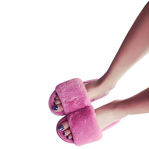 Fuzzy Dark Toe Slippers for Pink House SNIDEL Warm Sandles Open Slides Plush Soft Slipper for Women Cute Winter Girls dSBvTq