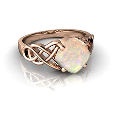 14kt Gold Opal 6mm Cushion Celtic Knot Ring