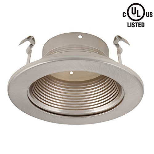 4 Inch Recessed Can Light Trim with Satin Nickel Metal Step Baffle, for 4 inch Recessed Can, Fit Halo/Juno Remodel Recessed Housing, Line Voltage Available