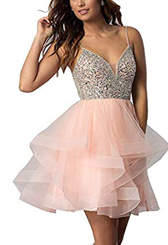 gsunmmw Women's Spaghetti Strap Tulle Homecoming Dresses Beaded Cascading Ruffles Short Prom Formal Dress Open Back GS072 Light Pink