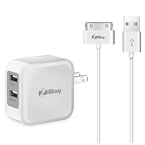 2 Pack USB Charging Cable Cord For iPhone 4 iPod iPad 2,3 And 3.1A Wall Charger