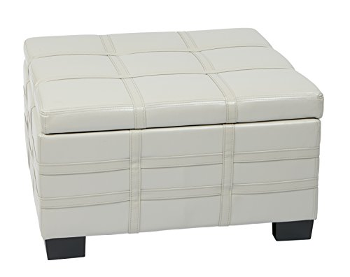 Cream Bonded Leather Ottoman (AVE SIX Detour Bonded Leather Strap Storage Ottoman with Tray and Slam Proof Hinges, Cream)
