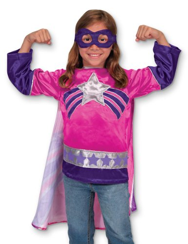 Melissa & Doug Super Heroine Role Play Costume Set (3 pcs) - Tunic, Cape, Mask - Super Heroine Costumes