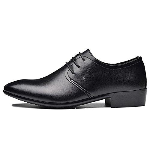 Scarpe in Pelle Nera Uomo Derby Work Stringate Eleganti da Lavoro Business Casual Scarpe da Uomo Black1